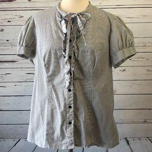 Torrid Plus Size 2 Ruffle Front Striped Shirt 2XL